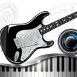 Music with Piano Guitar and Woofer - Stockfoto