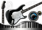 Music with Piano Guitar and Woofer — Stock Photo