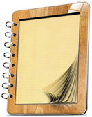 Wooden Tablet Computer Notebook with pages — Stock Photo