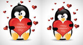 Valentine's Greeting Penguins — Stock Vector