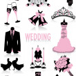Wedding silhouettes - Stock Vector
