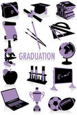 Graduation silhouettes — Stock Vector