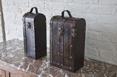 Leather suitcases to save or present one or two bottles of wine — Stock Photo
