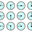 Vector of timepieces that indicate every quarter of an hour — Stockvektor