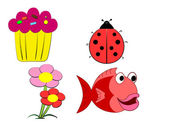 Child s Drawing A cake a ladybug flowers and a fish — Stock Photo
