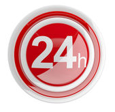 24 hours. 3D icon isolated on white — Stok fotoğraf