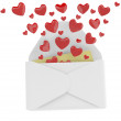 Love letter with flying hearts. 3D illustration — Stock Photo