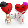 Hearts: cartoon man and woman among gift boxes. 3D illustration — Stock Photo
