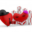 Hearts: cartoon man giving a gift to his couple. 3D illustration — Stock Photo #8357501