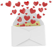 Love letter with flying hearts. 3D illustration — Foto de Stock