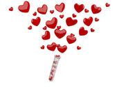 Valentine hearts flying. 3D illustration — Stock Photo
