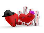 Hearts: cartoon man giving a gift to his couple. 3D illustration — Stock Photo