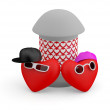 Couple teens. Hearts. 3D cartoon model — Stock Photo