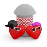 Couple teens. Hearts. 3D cartoon model — Stock Photo