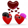Hearts. Couple teens in love: boy and girl. 3D illustration — Stock Photo #8373570
