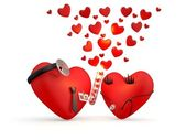 Hearts: cartoon man and woman - doctors. 3D illustration — Stock Photo