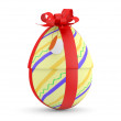 Easter Egg with red ribbon. 3D model — Stock Photo