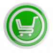 Shopping cart button. 3D icon isolated on white — Stock Photo