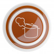 Pan icon. 3D cooking button isolated on white — Stock Photo