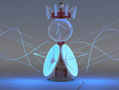 Antenna communication. Satellite dish. 3D model — Zdjęcie stockowe