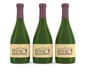 Wine bottles. 3D model isolated on white — Stock Photo