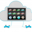 Stock Photo: Cloud game services concept. 3D illustration