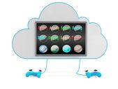 Konzept der wolken-spiel-downloads. 3d-illustration — Stockfoto