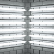 Fluorescent lamp Tubes on brick wall. 3D illustration — Stock Photo #8697151