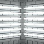 Fluorescent lamp Tubes on brick wall. 3D illustration — Stock Photo