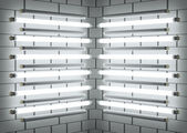 Fluorescent lamp Tubes on brick wall. 3D illustration — Stock Photo