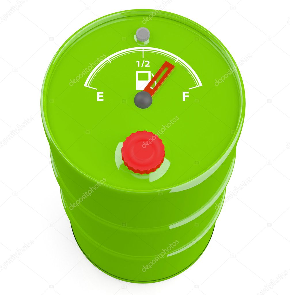 Fuel gauge icon on barrel. 3D model — Stock Photo #8697203