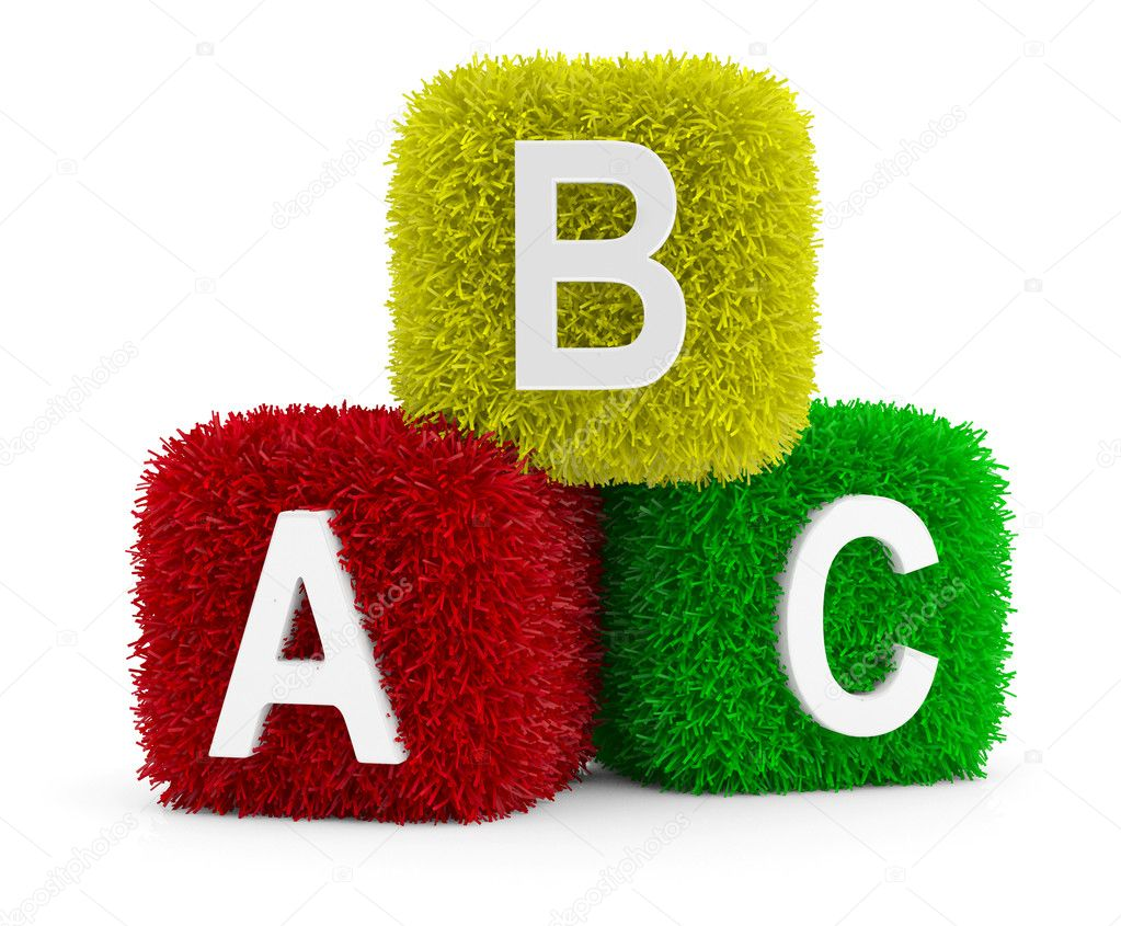 Toy Baby Blocks with symbols heap of alphabet. Icon 3D. Education concept. 3D model — Stock Photo #8697252