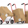 Hand trucks and carboard boxes. 3D model isolated on white backg — Stock Photo