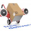 Stock Photo: Free delivery concep. Hand truck and carboard boxes.