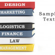 Stock Photo: Books stack - various subjects. 3D illustration