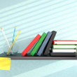 Stock Photo: Shelf with books, pencils, and sticky note on blue wall. 3D rend