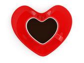 心臓の形でコーヒー カップ。3 d のレンダリング — ストック写真