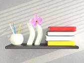 Mensola con vasi e libri sul muro grigio. rendering 3d — Foto Stock