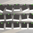 Stock Photo: Photo frames pressed green pin to shelf. 3D background