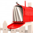 Red mailbox with mail on fence. 3D render — Foto Stock