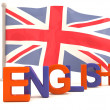 Stock Photo: English word with british flag. 3D model