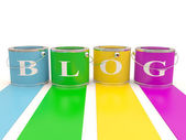 Teken blog op emmertje. 3d-kleurrijke model — Stockfoto
