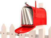 Red mailbox with mail on fence. 3D render — Stock Photo