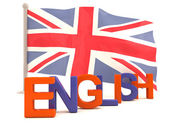 English word with british flag. 3D model — Stock Photo
