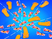Travel concept. Flip flops with flags on blue background — Stock Photo