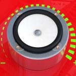 Sound speaker. 3D model on red background — Stock Photo #9201871