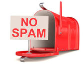 No spam sign and red male box. 3D model — Stock Photo