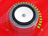 Sound speaker. 3D model on red background — Stock Photo