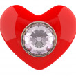 Heart with diamond. 3D model — Photo