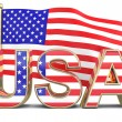 USA text with american flag — Stock Photo